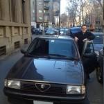 Matteo Nava fiero accanto alla nuova Alfa 33 1.7