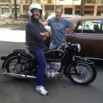 Franco Pignatelli e Francesco Polidori, notare la splendida moto BMW R69S