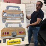 Pannello anni '60 da autoscuola con stupenda Giulia