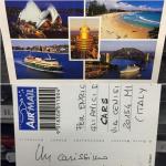 Saluti dall'Australia! Grazie Francesco! (Le cartoline, hanno un sapore che avevo dimenticato).