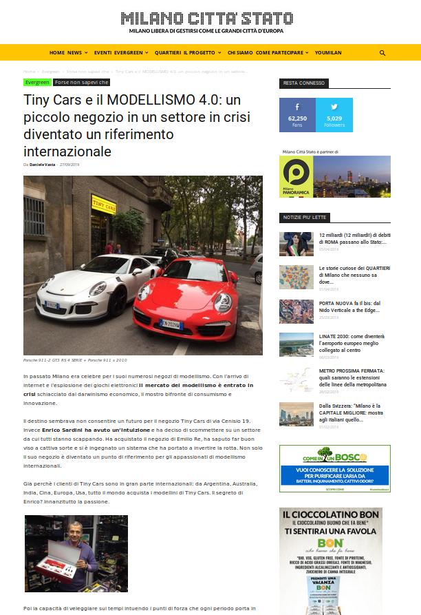 Articolo su Milano Citta' Stato di Daniele Vasta su Tiny Cars!